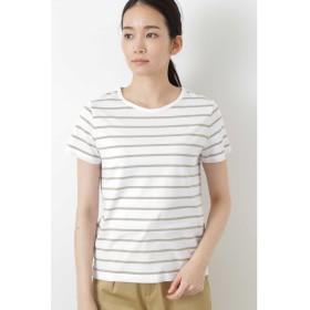 新きょう綿半袖Tシャツ シロ×Lカーキ1