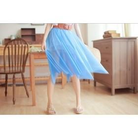 【送料無料】【色も豊富♪】女性らしい ミディアムチュールスカート【クリスタル神戸】