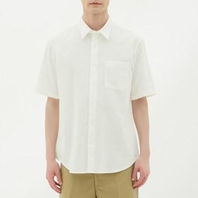 (GU)リネンブレンドシャツ(半袖) WHITE L