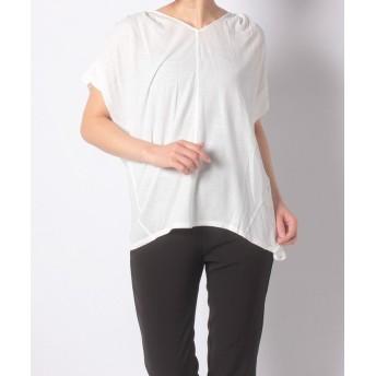 【80%OFF】アルカリSZ強撚天竺 肩ギャザーTシャツレディースオフホワイトF【alcali】【セール開催中】