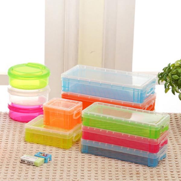 文具 長方形透明文具收納盒 約22x10x4.5cm 收納用品 糖果色 鉛筆盒 收納盒 置物盒 【PMG813】收納女王