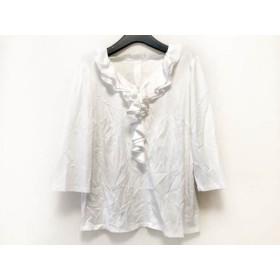 【中古】 ローズティアラ Rose Tiara 七分袖カットソー サイズ42 L レディース 美品 白 フリル