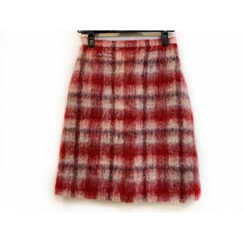 【中古】 ユキトリイ YUKITORII スカート サイズ9 M レディース 美品 レッド アイボリー 黒 チェック柄