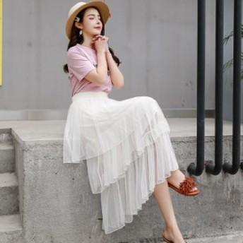 【フリーサイズ】ティアードスカート 5色スカート レディーススカート ロング丈 フレアスカート チュールスカート 大人 レディース 春物