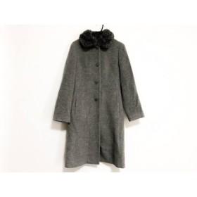 【中古】 ヴァンドゥ オクトーブル コート サイズ38 M レディース ライトグレー ファー/冬物 毛アンゴラ