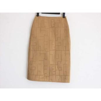 【中古】 フェンディ FENDI jeans スカート サイズIt38 レディース 美品 ライトブラウン キルティング