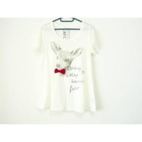 【中古】 ザ ショップ ティーケー 半袖Tシャツ サイズF レディース 白 ライトグレー レッド リボン