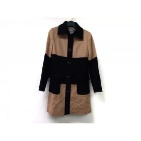 【中古】 ビアッジョブルー Viaggio Blu コート サイズ2 M レディース ライトブラウン 黒 冬物