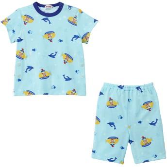ミキハウス プッチー 天竺素材の半袖パジャマ(6分丈パンツ) ブルー