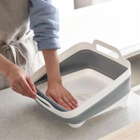 折りたたみ洗い桶(排水口付き) - セシール ■カラー:グレー