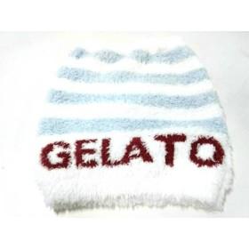 【中古】 ジェラートピケ gelato pique 小物 F 美品 白 ライトブルー HOMME/ウエストウォーマー/ボーダー