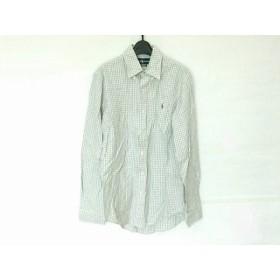 【中古】 ラルフローレン 長袖シャツ サイズS メンズ 美品 白 ライトグレー マルチ チェック柄