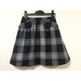 【中古】 ヨークランド スカート サイズ7 S レディース 黒 ダークネイビー ベージュ チェック柄