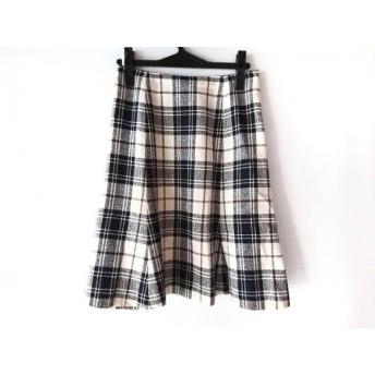【中古】 ヨークランド YORKLAND スカート サイズ11AR M レディース アイボリー ブラウン 黒 チェック柄