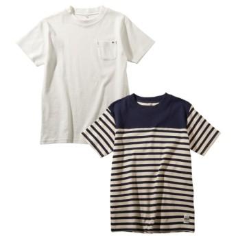 ストレッチポンチ 綿混無地+切替えボーダー半袖Tシャツ2枚組(男の子。女の子 子供服。ジュニア服) Tシャツ・カットソー