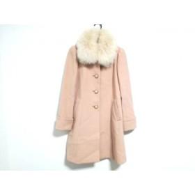 【中古】 アプワイザーリッシェ コート サイズ2 M レディース 美品 ピンク 白 冬物/ファー取外し可