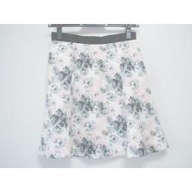 【中古】 アプワイザーリッシェ ミニスカート サイズ1 S レディース 美品 白 黒 ピンク 花柄