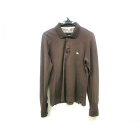 【中古】 バーバリーロンドン 長袖ポロシャツ サイズS メンズ ダークブラウン ベージュ ネイビー