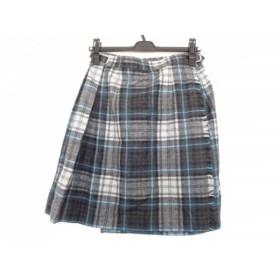 【中古】 オニール O'NEIL 巻きスカート サイズ42 L レディース グレー ライトブルー ダークグレー