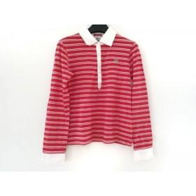 【中古】 ラコステ Lacoste 長袖ポロシャツ サイズ42 L レディース レッド 白 ボーダー