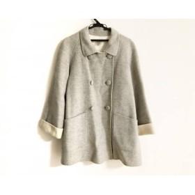 【中古】 アリスバーリー Aylesbury Pコート サイズ9 M レディース グレー アイボリー 冬物