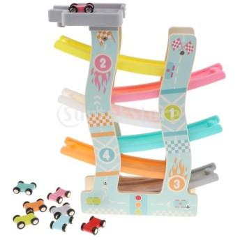 F Fityle 木製 車 トラック玩具 ランプトラック 6台車おもちゃ 6層軌道 くるくるスロープ 遊びセット