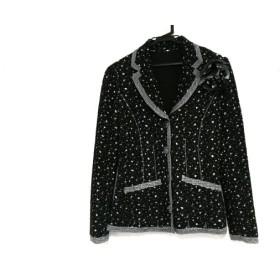 【中古】 ノコプリーツ ジャケット サイズ40 M レディース 美品 黒 グレー 白 コサージュ取り外し可