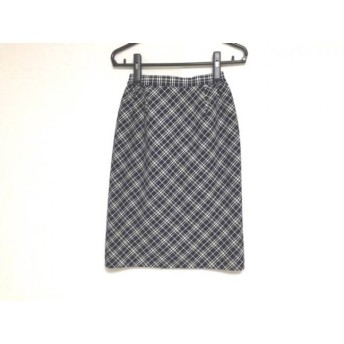 【中古】 ユキトリイ YUKITORII スカート サイズ9 M レディース 黒 アイボリー チェック柄