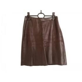 【中古】 ポールカ PAULEKA スカート サイズ38 M レディース ダークブラウン レザー