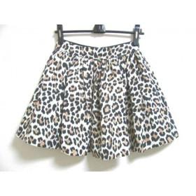 【中古】 ケイトスペード Kate spade スカート サイズ2A レディース アイボリー 黒 ブラウン 豹柄