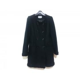 【中古】 エムプルミエ M-PREMIER コート サイズ36 S レディース 黒 ラメ/冬物
