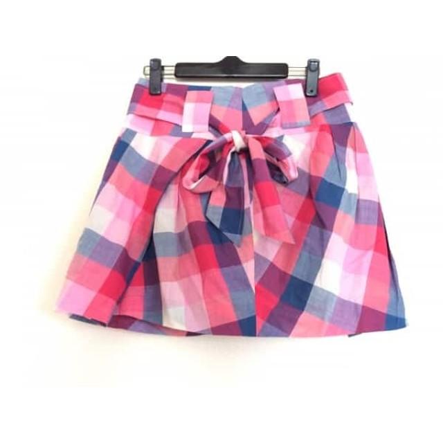 【中古】 モニコト monikoto ミニスカート サイズF レディース 美品 ピンク ネイビー 白