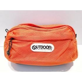 【中古】 アウトドア OUTDOOR ウエストポーチ 美品 オレンジ 黒 アイボリー 化学繊維 ナイロン