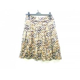 【中古】 バーバリーロンドン スカート サイズ38 L レディース ダークブラウン ブラウン マルチ シルク