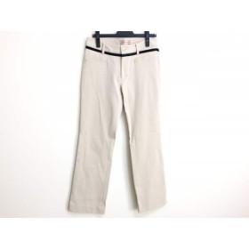 【中古】 ミエコウエサコ パンツ サイズ42 L レディース ベージュ 黒 リボン/ラインストーン
