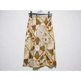 【中古】 スキャパ Scapa ロングスカート サイズ38 L レディース ベージュ ダークブラウン マルチ