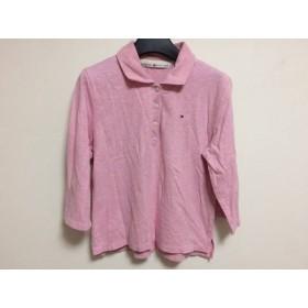 【中古】 トミーヒルフィガー 長袖ポロシャツ サイズXL レディース 美品 ピンク ショート丈