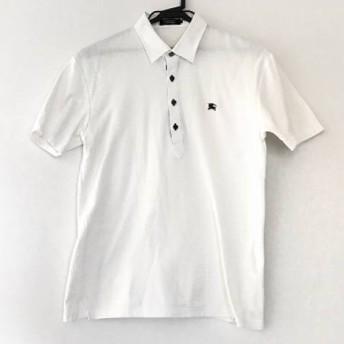 【中古】バーバリーブラックレーベル 半袖ポロシャツ サイズ3 L メンズ 白xボルドー