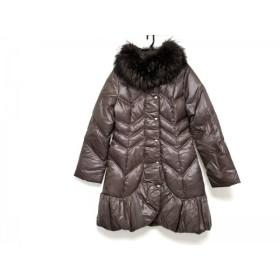 【中古】 ビアッジョブルー ダウンコート サイズ2 M レディース 美品 ダークブラウン 冬物/ラクーン