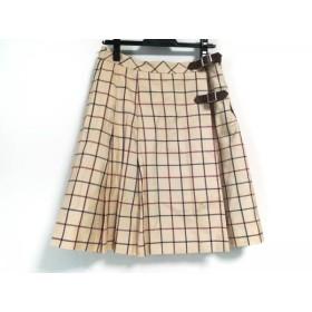 【中古】 ロイスクレヨン Lois CRAYON 巻きスカート サイズM レディース ベージュ レッド 黒 チェック柄