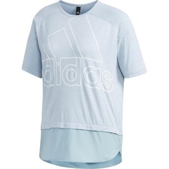 adidas women's W ID 半袖ファブリックMIX オーバーサイズビッグロゴ Tシャツ ランニング・トレーニングウェア,アッシュグレー