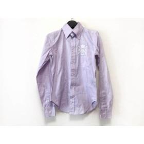 【中古】 ラルフローレン RalphLauren 長袖シャツ サイズ0 XS メンズ パープル 白 刺繍