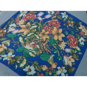 【中古】 シャネル CHANEL スカーフ 美品 ブルー グリーン マルチ 花柄