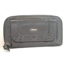 【中古】 クロエ Chloe 長財布 パラティ 黒 ラウンドファスナー レザー