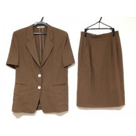 【中古】 アクアスキュータム スカートスーツ サイズ9 M レディース ダークブラウン 半袖/肩パッド
