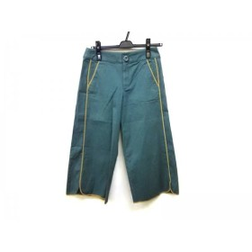 【中古】 ホコモモラ パンツ サイズ40 XL レディース グリーン ベージュ ストライプ/パイピング