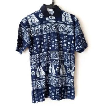 【中古】 ジバンシー GIVENCHY 半袖ポロシャツ サイズS メンズ ネイビー アイボリー