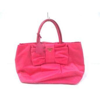 【中古】 プラダ PRADA ハンドバッグ - BN1601 ピンク TOKYO EDITION/リボン ナイロン レザー
