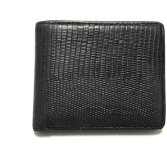 【中古】 ポールスチュアート PaulStuart 2つ折り財布 ダークグレー 型押し加工 レザー