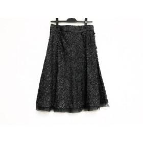 【中古】 ローズティアラ Rose Tiara スカート サイズ42 L レディース 美品 黒 白 ラメ